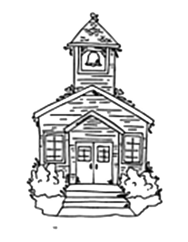 Sketch Of School House Coloring Page : Coloring Sky