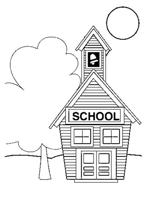 Small School House Coloring Page : Coloring Sky