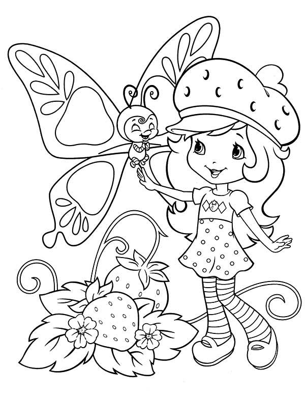 Strawberry Shortcake Talking to Strawberry Fairy Coloring