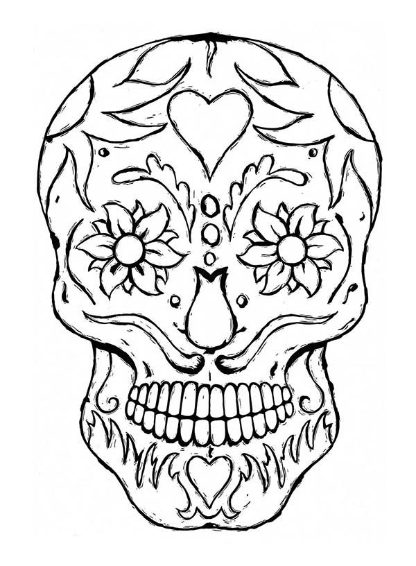 Sugar Skull Coloring Page : Coloring Sky