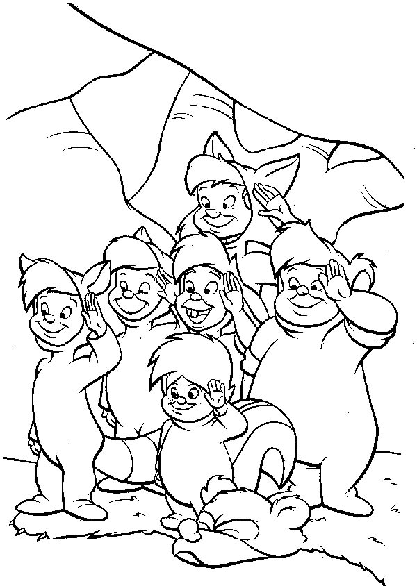 The Awesome Lost Boys in Peter Pan Coloring Page