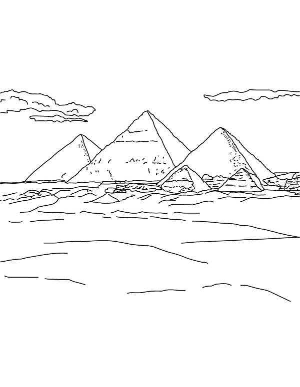 Three Famous Pyramid Coloring Page : Coloring Sky