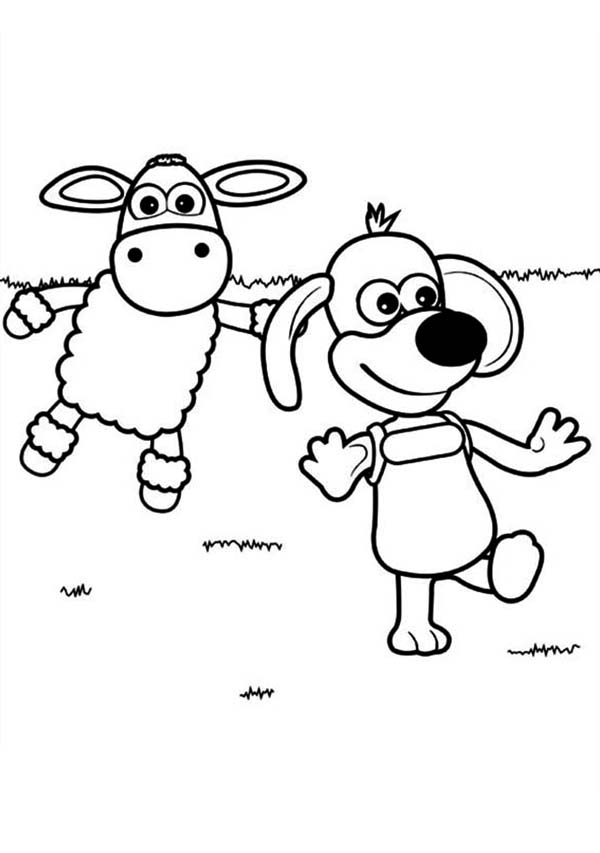 Timmy Play with Ruffy the Puppy in Timmy Time Coloring