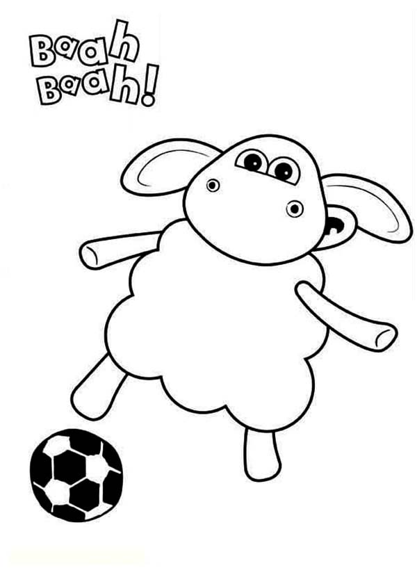 Timmy the Sheep Play Football in Timmy Time Coloring Page
