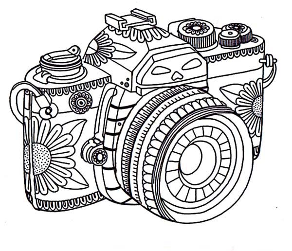 Tribal Camera In Photography Coloring Page: Tribal Camera