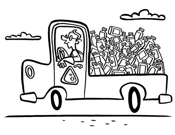 Truck Of Recycling Waste Coloring Page : Coloring Sky