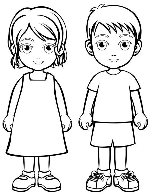 Two Children People Coloring Page : Coloring Sky