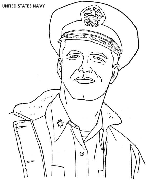 US Navy Sailor Celebrating Veterans Day Coloring Page