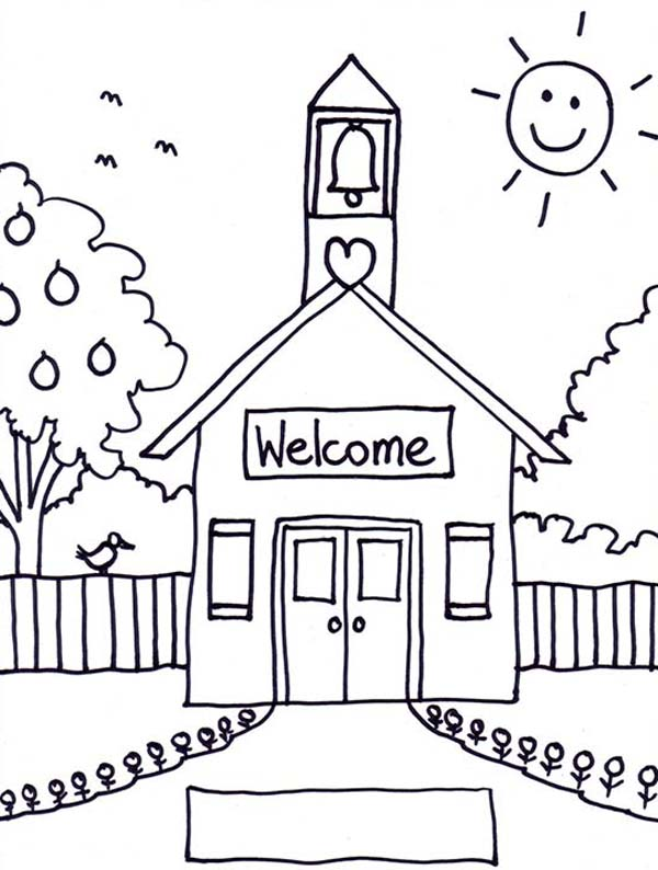 Welcome To School House Coloring Page : Coloring Sky