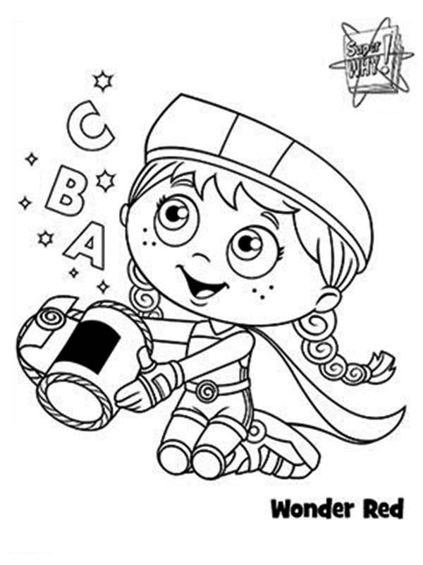wonder red alphabet basket in superwhy coloring page