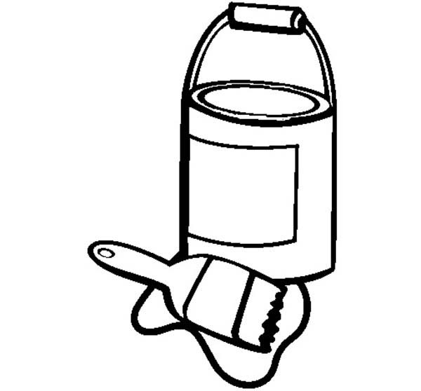 An Opened Paint Can And Paint Brush Coloring Page