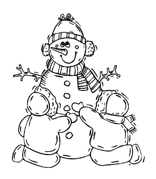A Couple of Childrens Making a Lovely Mr Snowman Coloring