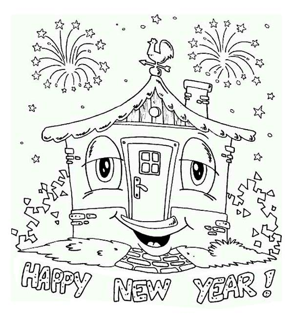 Happy House Says Joyful and Happy 2015 New Year Coloring