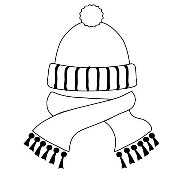 Hat And Scarf In Winter Season Coloring Page : Coloring Sky