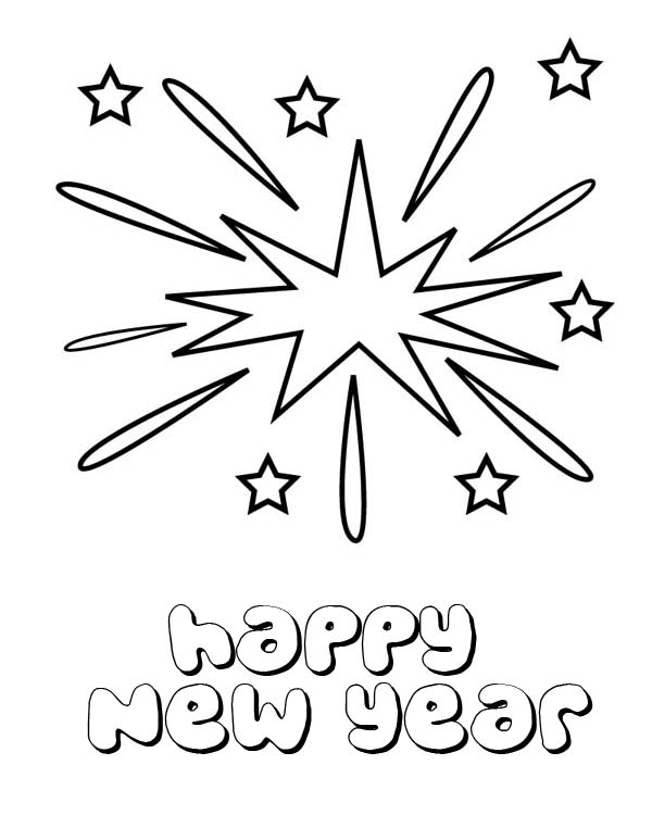 Lovely Firework On New Years Eve On 2015 New Year Coloring