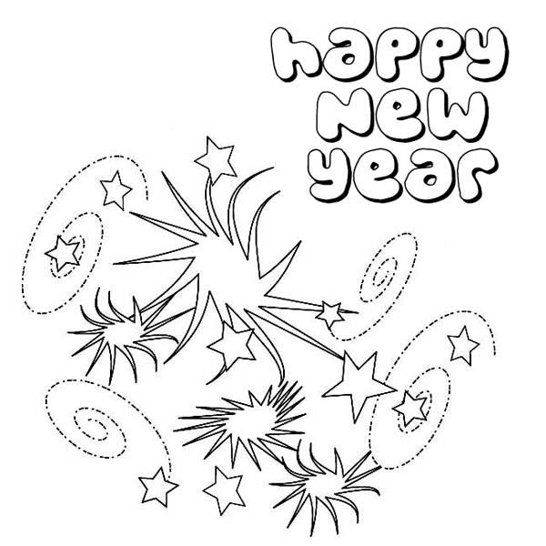 Lovely New Years Eve Firework On 2015 New Year Coloring