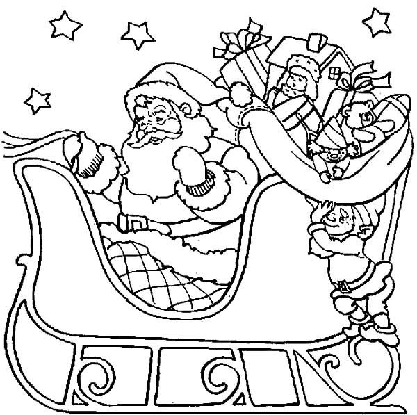 Santa Claus Flying In Starry Night Coloring Pages