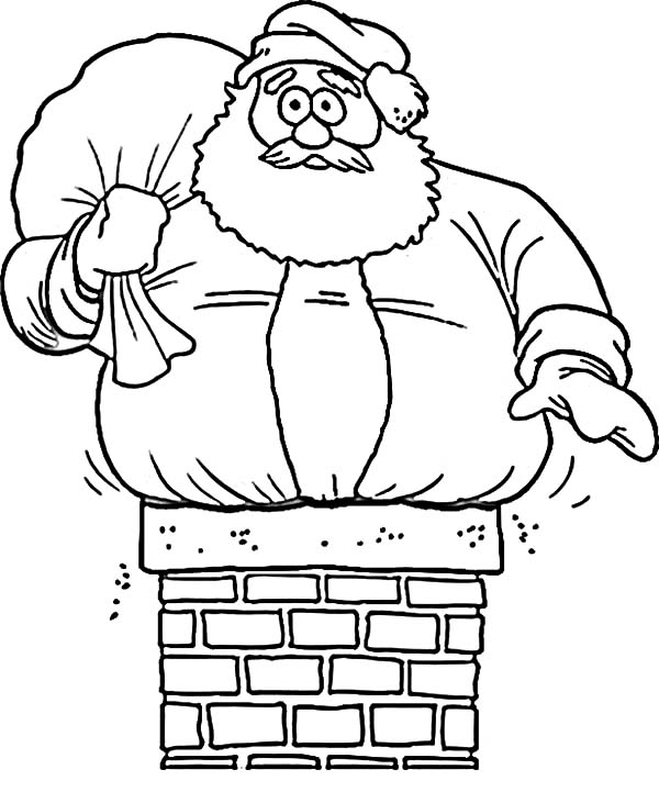Santa Claus Get Stuck In Chimney Coloring Pages : Coloring Sky