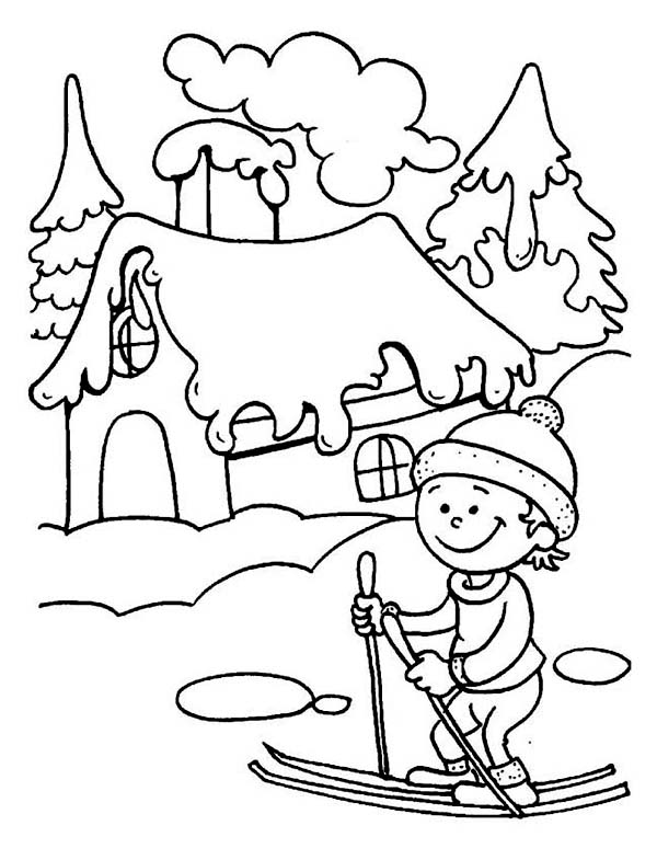 Young Little Kid Learning How to Play Ski on Winter Season