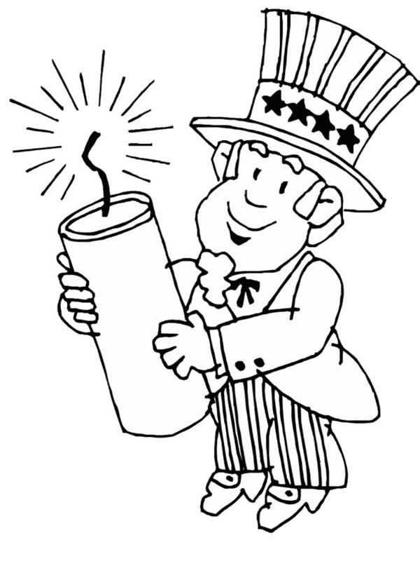 Uncle Sam Holding Firecracker for Independence Day
