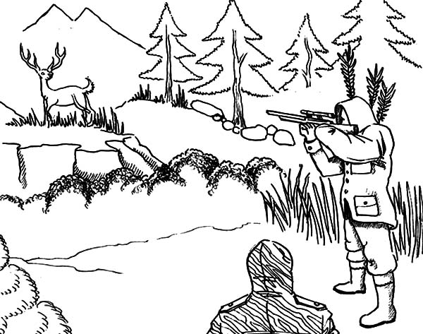 Aiming At Deer Hunting Coloring Pages : Coloring Sky
