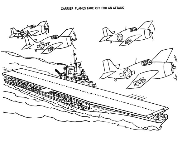 Aircraft Carrier Plane Take Off For An Attack Coloring