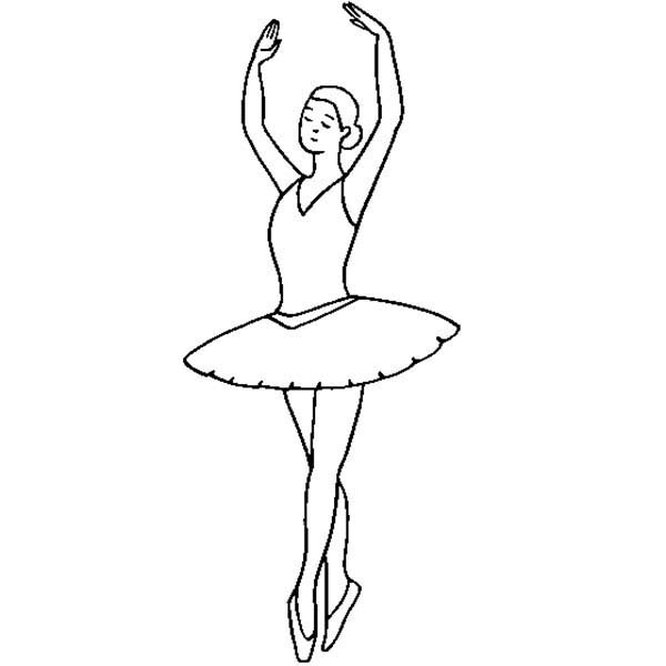 Ballerina Doing Ballet Fifth Position Coloring Pages