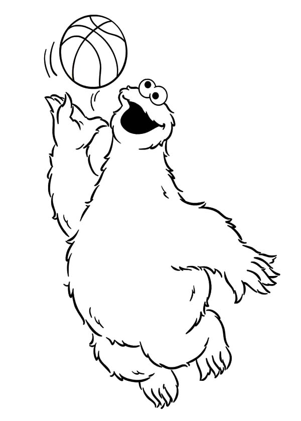Basketball Cookie Monster Coloring Pages Coloring Sky