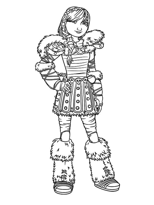 Beautiful Astrid in How to Train Your Dragon Coloring