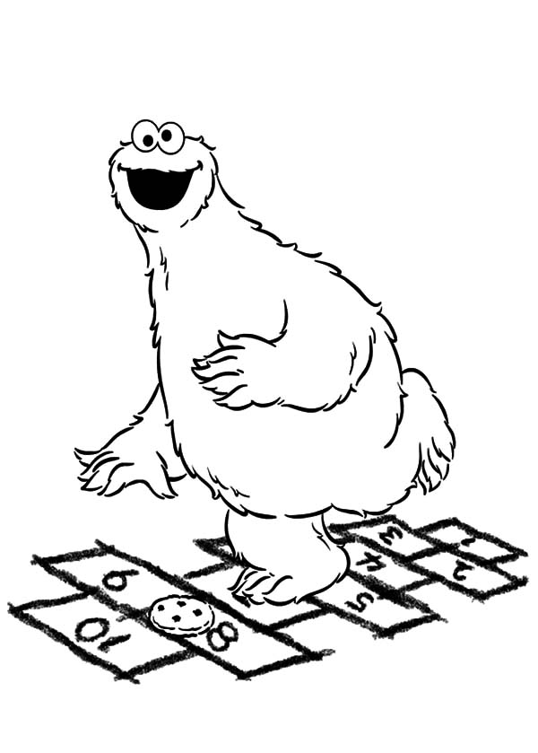 Cookie Monster Play Basketball Coloring Pages Cookie