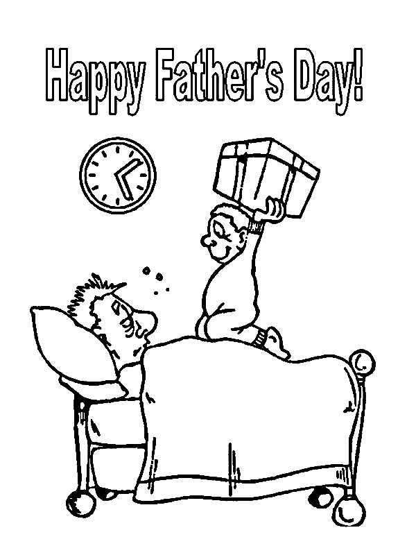 Daddy Wake Up Its Father Day I Love Dad Coloring Pages