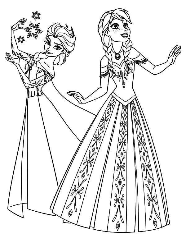 Disney Frozen Queen Elsa and Princess Anna Coloring Pages