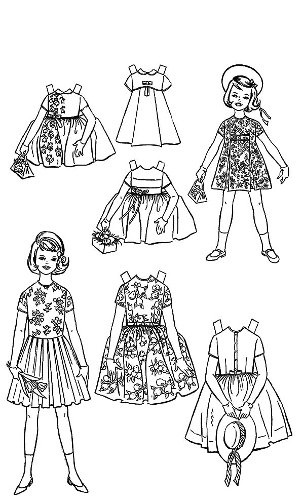 Doll Dress Night Gown with Gloves Coloring Pages