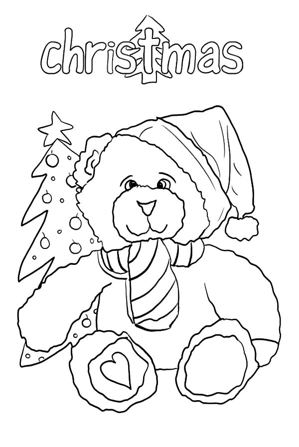 Holidays Teddy Bear Holding Candy Cane Coloring Pages