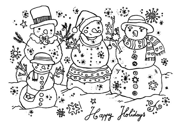 Happy Holidays Three Snow Man Coloring Pages : Coloring Sky