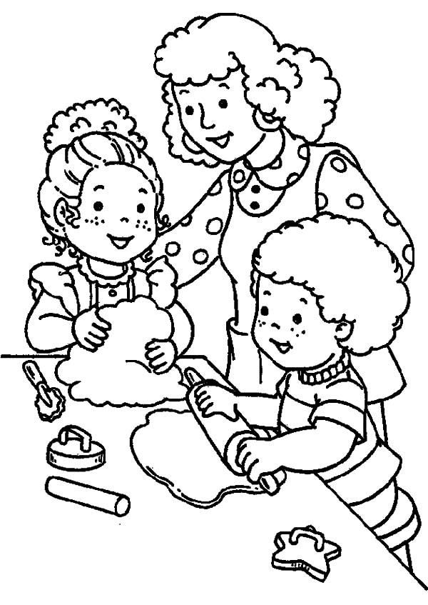 Helping Others Making Cookies Coloring Pages : Coloring Sky