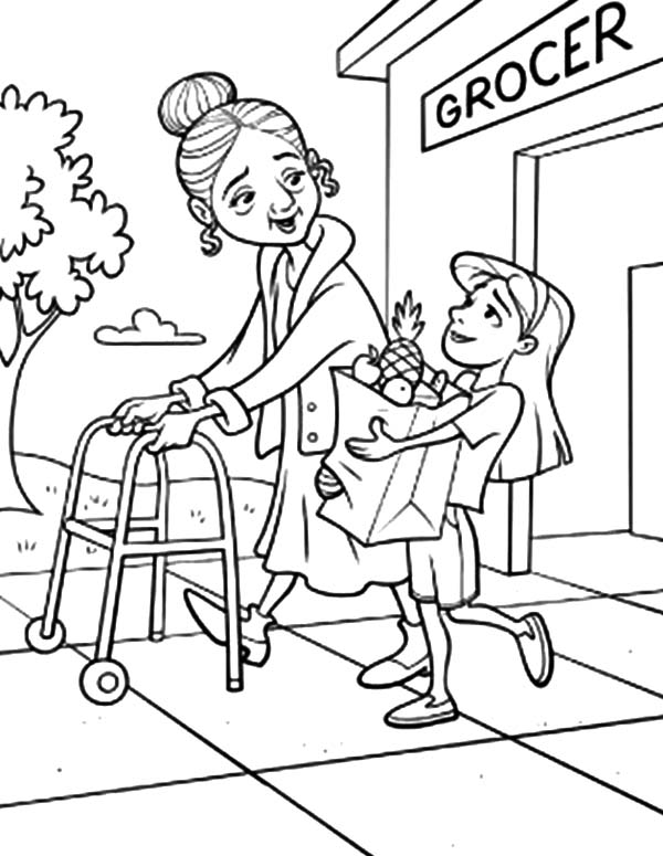 Helping Others Take Grandma to Groceries Store Coloring