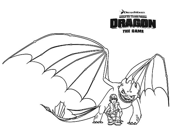 Hiccup And Night Fury In How To Train Your Dragon Coloring