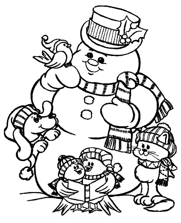 Holidays Playing Giant Snow Man Coloring Pages : Coloring Sky