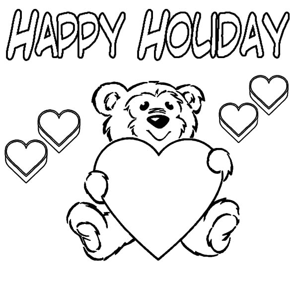 Holidays Teddy Bear Coloring Pages : Coloring Sky