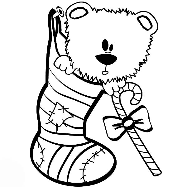 Holidays Teddy Bear in Christmas Sock Coloring Pages