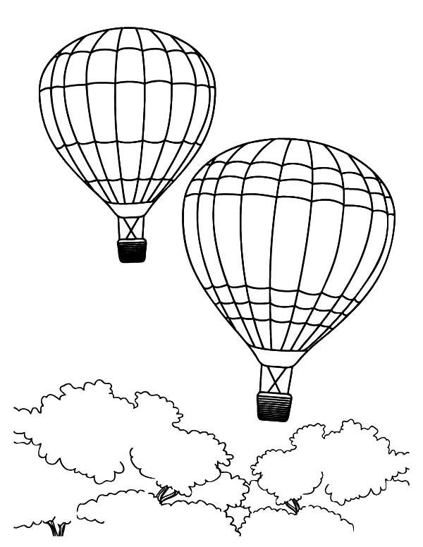 Hot Air Balloon Flying Over African Forest Coloring Pages