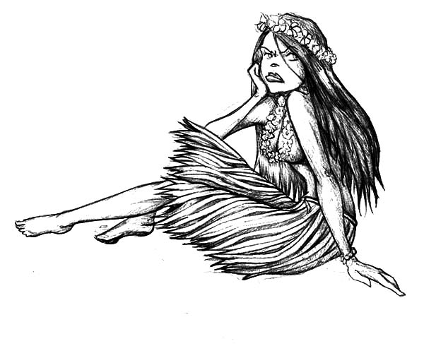 Hula Dance Is Hawaiian Traditional Dance Coloring Page