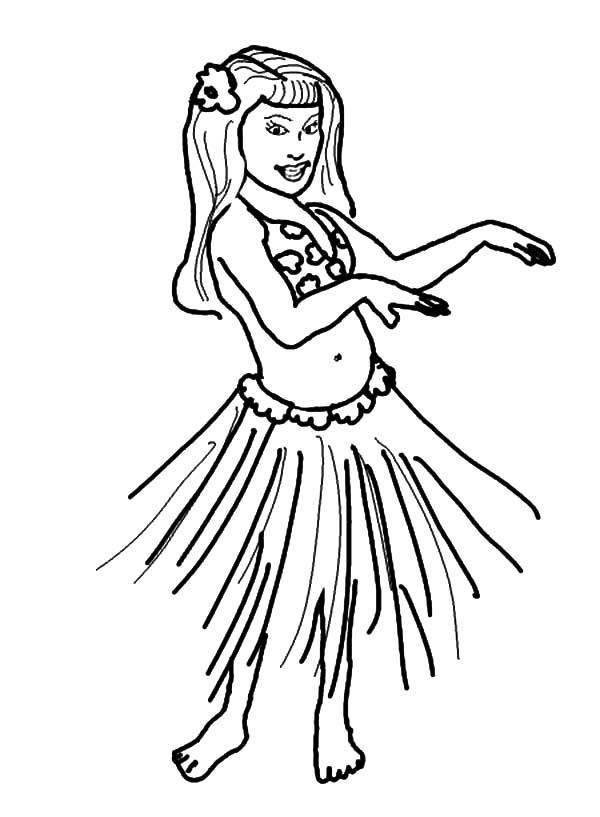 Hula Girl Performing Hawaiian Dance Coloring Pages