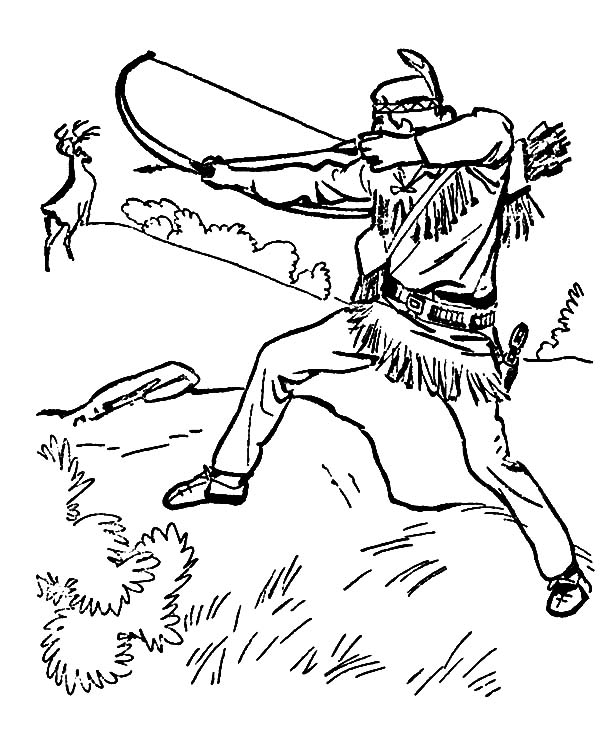 Indian Release His Arrow To Deer Hunting Coloring Pages