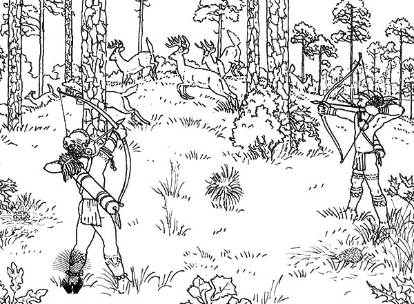 Indian Tribe Deer Hunting for Food Coloring Pages
