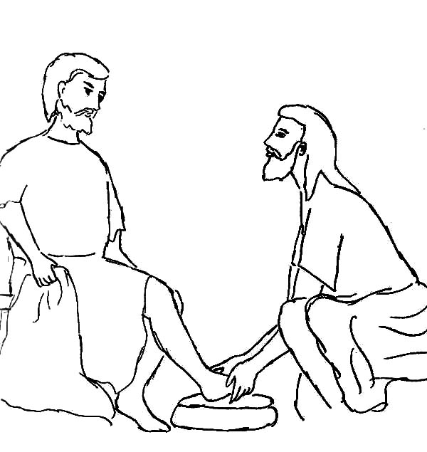 Jesus Teaches Foot Washing on Helping Others Coloring