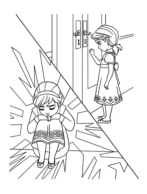 Little Elsa Hide from Little Anna Coloring Pages