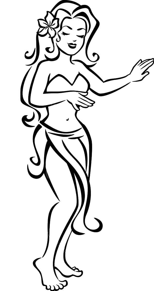 Lovely Hula Girl with Flower on Her Hair Coloring Pages