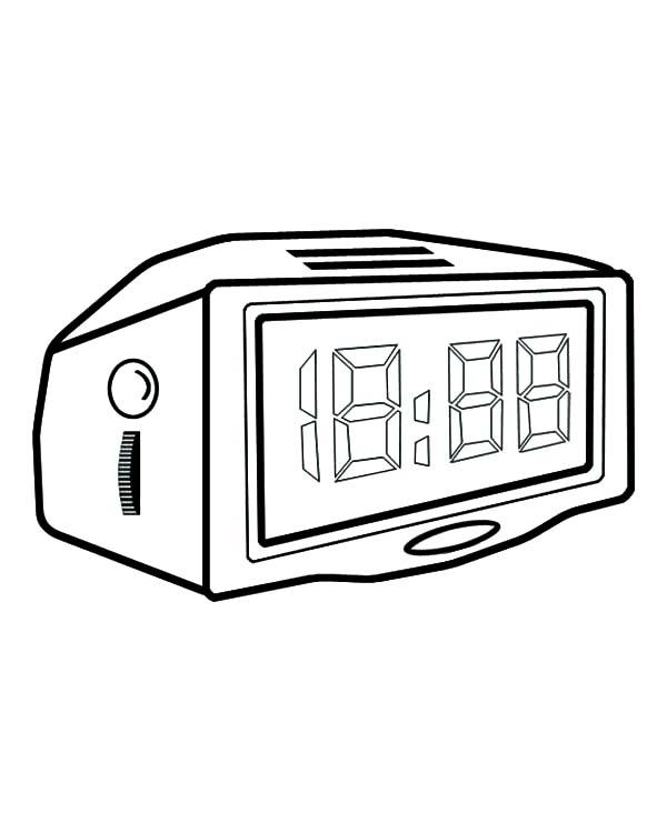 Modern Digital Alarm Clock Coloring Pages : Coloring Sky